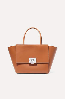 Calvin Klein Bonnie Medium Grosgrain-trimmed Leather Tote - Tan