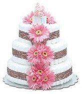 Bloomers Baby Baby Large Hot Pink Daisy Diaper Cake by by