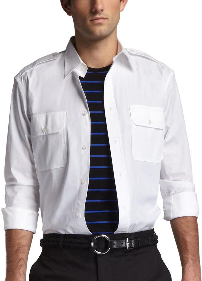 Ralph Lauren Black Label Rover Military Shirt, White