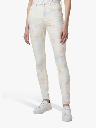 French Connection Sade Tie Dye Skinny Jeans, Lotus Pink/Multi