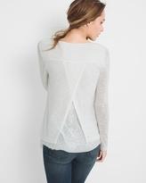 White House Black Market Lace-Detail Knit Top