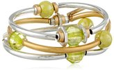 "Kenneth Cole New York Metal Mix"" Mixed Metal Green Bead Stretch Bracelet Set, 7.5"""