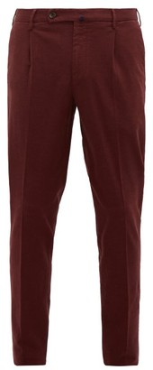 Incotex Plaid Brushed Cotton-blend Twill Trousers - Mens - Burgundy
