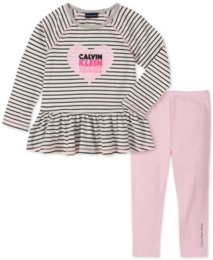 Calvin Klein Jeans Baby Girls 2-Pc. Stripe Logo-Print Tunic & Leggings Set