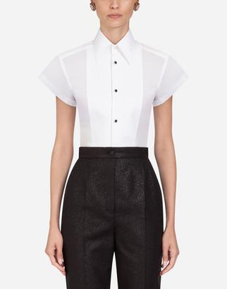 Dolce & Gabbana Short-Sleeved Poplin Tuxedo Shirt
