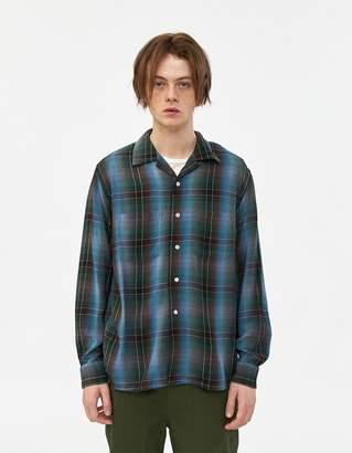 Beams Open Collar Ombre Check Shirt