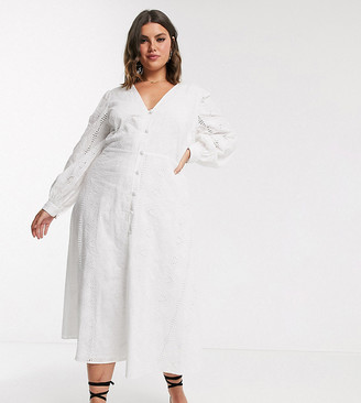 Asos DESIGN Curve broderie button through midi tea dress in white