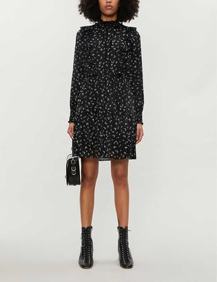 Whistles Printed puff-sleeve devore mini dress