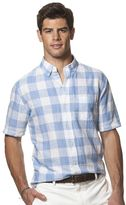 Chaps Big & Tall Classic-Fit Checked Slubbed Linen-Blend Button-Down Shirt