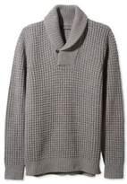 L.L. Bean L.L.Bean Signature Merino/Cashmere Waffle Sweater, Shawl Collar