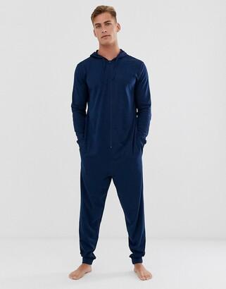 Asos Design DESIGN hooded lounge onesie in navy