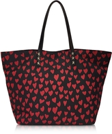 RED Valentino Red and Black Heart Print Nylon Tote