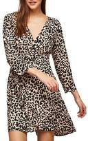 Miss Selfridge Cheetah-Print Wrap Frill Dress