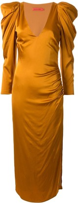 Manning Cartell Australia Puff-Shoulders Satin Dress