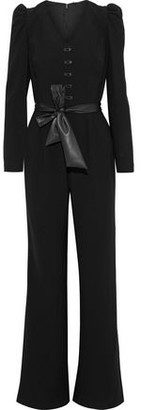 Elie Tahari Campbell Belted Button-embellished Crepe Jumpsuit