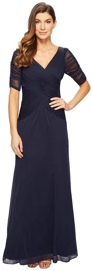 Adrianna Papell 3/4 Length Sleeve Rouched Stretch Tulle Dress with Beading Women's Dress