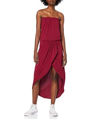Urban Classics Women's Ladies Viscose Bandeau Dress Red (Burgundy 606) S