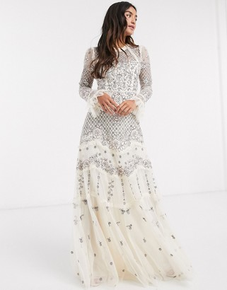 Needle & Thread embellished maxi dress in champagne