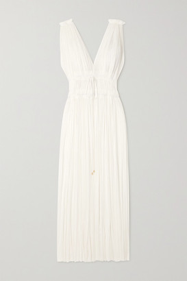 ELENA MAKRI Vereniki Draped Silk-tulle Maxi Dress - White