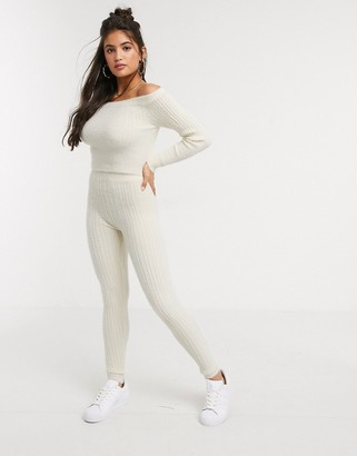 ASOS DESIGN Lounge co-ord knitted ribbed legging in fluffy