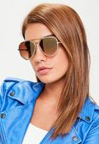 Missguided Gold Geometric Cut Out Sunglasses, Gold