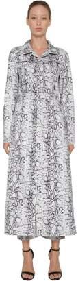 Alexander Wang Long Snake Print Cotton Denim Coat