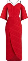 Roland Mouret Hollander cold-shoulder checked-cloqué dress