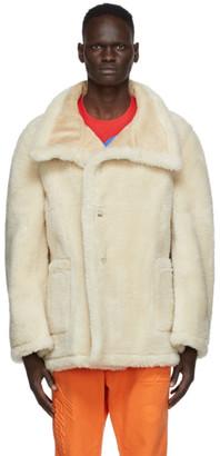 we11done Beige Sherpa Embossed Logo Jacket