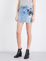 Rag & Bone Floral-embroidered denim mini skirt