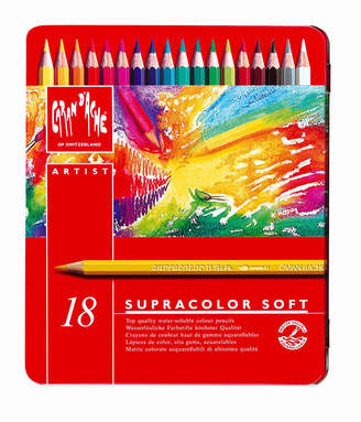 Caran d'Ache Supracolor Soft Watercolor Pencils in A Durable Metal Box, 18 Color Assortment
