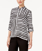 Alfred Dunner Petite City Life Striped Blouse