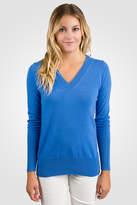 Jennie Liu Blue Cashmere Long Sleeve Ava V Neck Sweater