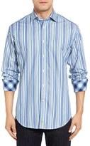 Thomas Dean Men's Classic Fit Barcode Stripe Sport Shirt
