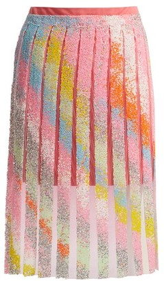 Germanier - Bead-embellished Tulle And Jersey Mini Skirt - Multi