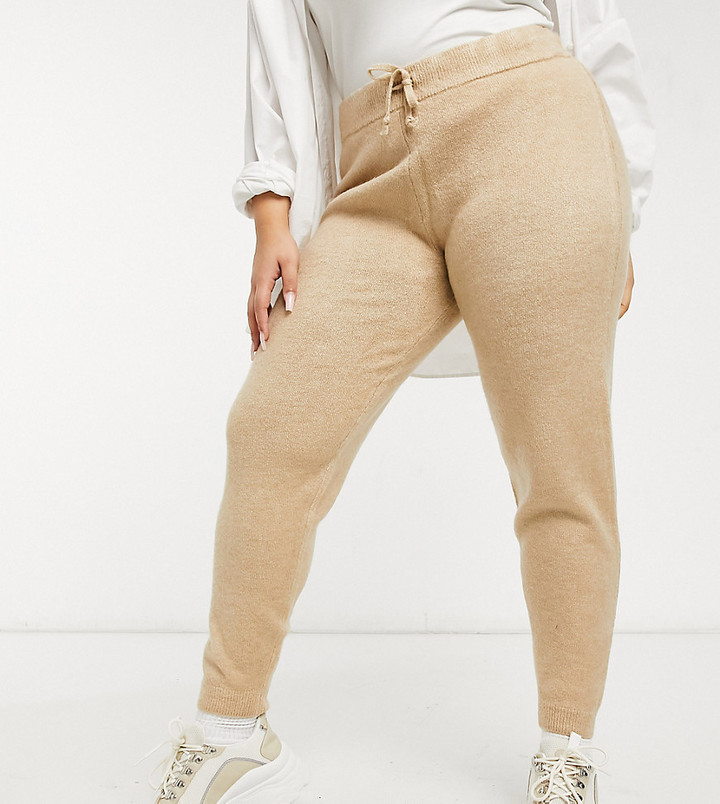 ASOS DESIGN Curve co-ord knitted jogger in camel