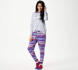 Cuddl Duds Petite Cozy Jersey Novelty Pajama Set with Socks