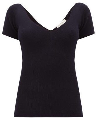 The Row Tain Ribbed Wool-blend Top - Womens - Navy