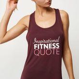 River Island Womens RI Active burgundy slogan print gym vest