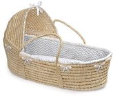 Badger Basket Natural Hooded Moses Basket Grey Chevron Bedding