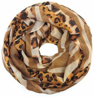 Feelinko Timeless Leo Stripe Mix Scarf Loop Neckerchief Tube Scarf Women's Women - Beige - One size