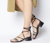 Office Minimal Strappy Mid Block Heels Black Leather