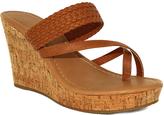 Fashion Focus Cognac Alicia Toe-Strap Wedge Sandal
