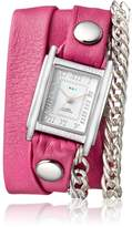 La Mer Women's 'Multi Chain' Quartz Stainless Steel Case Back, Nickle Free Mixed Metal Alloy and Leather Watch, Color:Pony Pink / Silver-Toned (Model: LAMERMULTI4511)