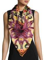 Givenchy Abstract Silk Satin Square Scarf, Multipattern