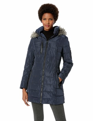 Nautica Women's 3/4 Puffer with Faux Fur Trimmed Hood