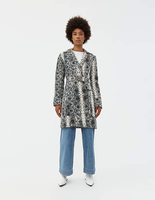 Veda Women's Ann Denim Printed Coat in White Snake, Size Extra Small | 100% Cotton
