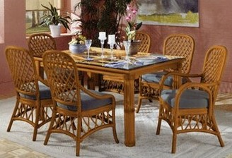 Antigua Rectangular Dining Table South Sea Rattan Finish: Antique