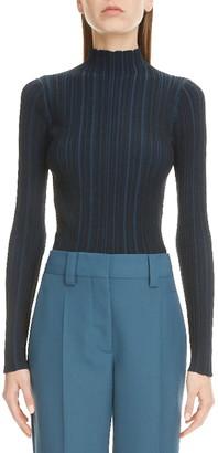 Acne Studios Katina Rib Mock Neck Cotton Blend Sweater