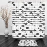 Vipsung Shower Curtain And Ground MatArrow Decor Collection Horizontal Arrows in Tribal Style Pointing Opposite Directions Pattern Black and WhiteShower Curtain Set with Bath Mats Rugs