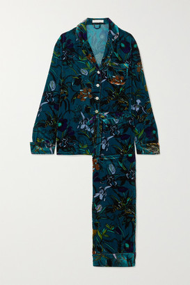 Olivia von Halle Lila Floral-print Silk-velvet Pajama Set - Blue